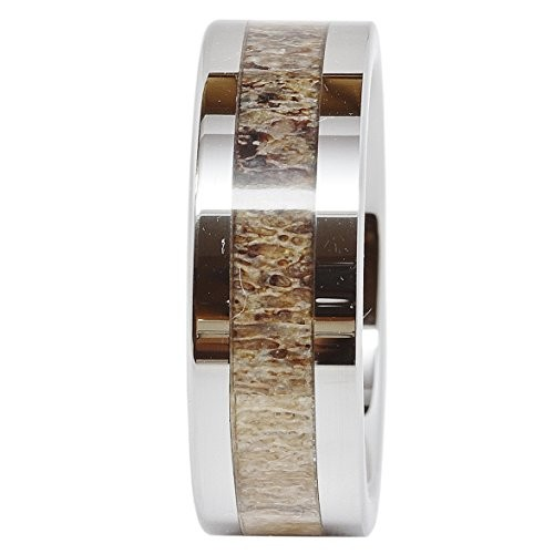 Mens Tungsten Ring Deer Antler Inlaid Wedding Band