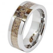 Mens Tungsten Ring Deer Antler Inlaid Wedding Band