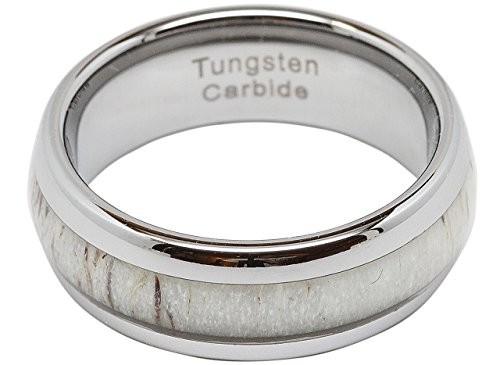 8mm  Antler Inlay Tungsten  Wedding Band Dome Shape Ring