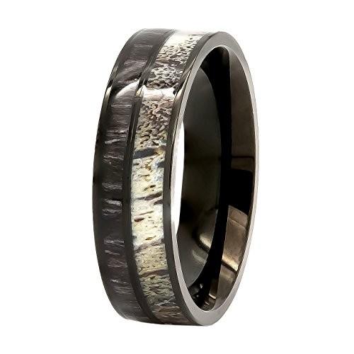 Deer Antler Ring with Black Koa Wood Inlay Wedding Ring Black Tungsten Ring Band
