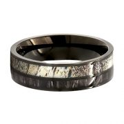 Deer Antler Ring with Black Koa Wood Inlay Wedding Ring Black Tungsten Ring Band