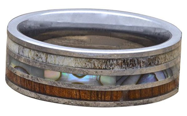 Men's Deer Antler Ring, Tungsten Ring With Koa Wood And Abalone