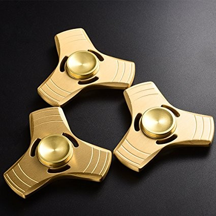 Fidget Spinner, Aluminum Metal Hand Finger Tri Spinners High Speed 1-5 Min Spins