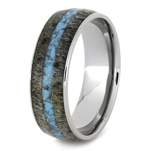 Deer Antler Ring, Turquoise Wedding Band, Men or Women's Titanium Ring