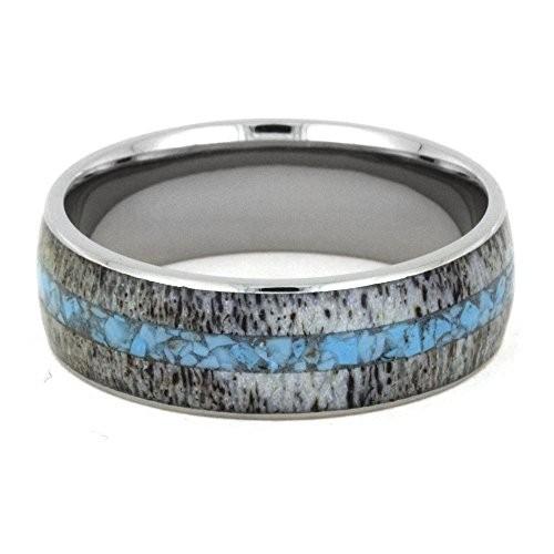 Deer Antler Ring, Turquoise Wedding Band, Men or Women's Titanium Ring
