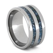 Turquoise Ring For Men, Titanium Wedding Band, Handmade Jewelry