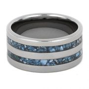 Turquoise Ring For Men, Titanium Wedding Band, Handmade Jewelry