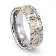 Antler Wedding Band With Tungsten Pinstripe, Mens Tungsten Wedding Band