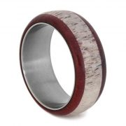 Antler Wedding Band, Titanium Ring With Ruby Redwood, Nature Deer Antler Ring