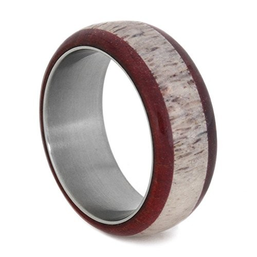 Antler Wedding Band, Titanium Ring With Ruby Redwood, Nature Deer Antler Ring