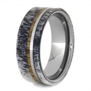 Deer Antler Wedding Band With A Tungsten And Oak Wood Pinstripe, Tungsten Ring